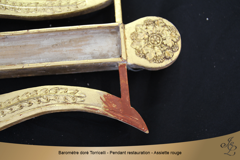 Baromètre doré Torricelli - Pendant restauration - Assiette rouge