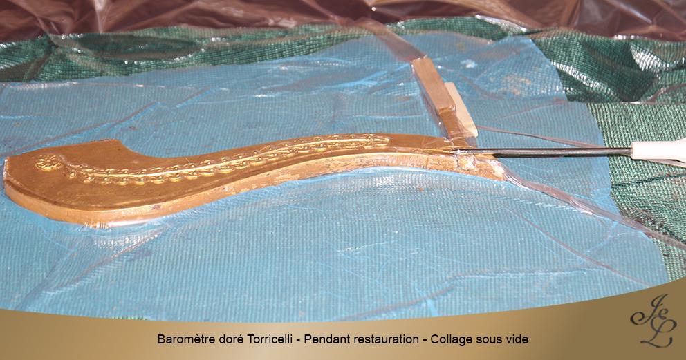 Baromètre doré Torricelli - Pendant restauration - Collage sous vide