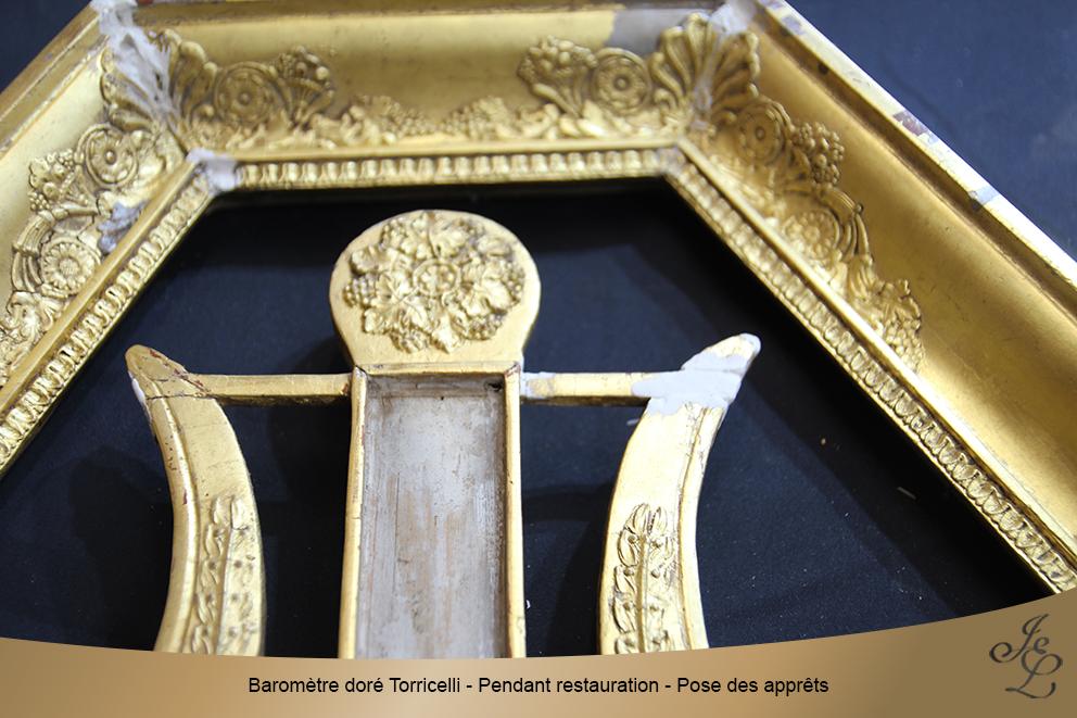 Baromètre doré Torricelli - Pendant restauration - Pose des apprêts