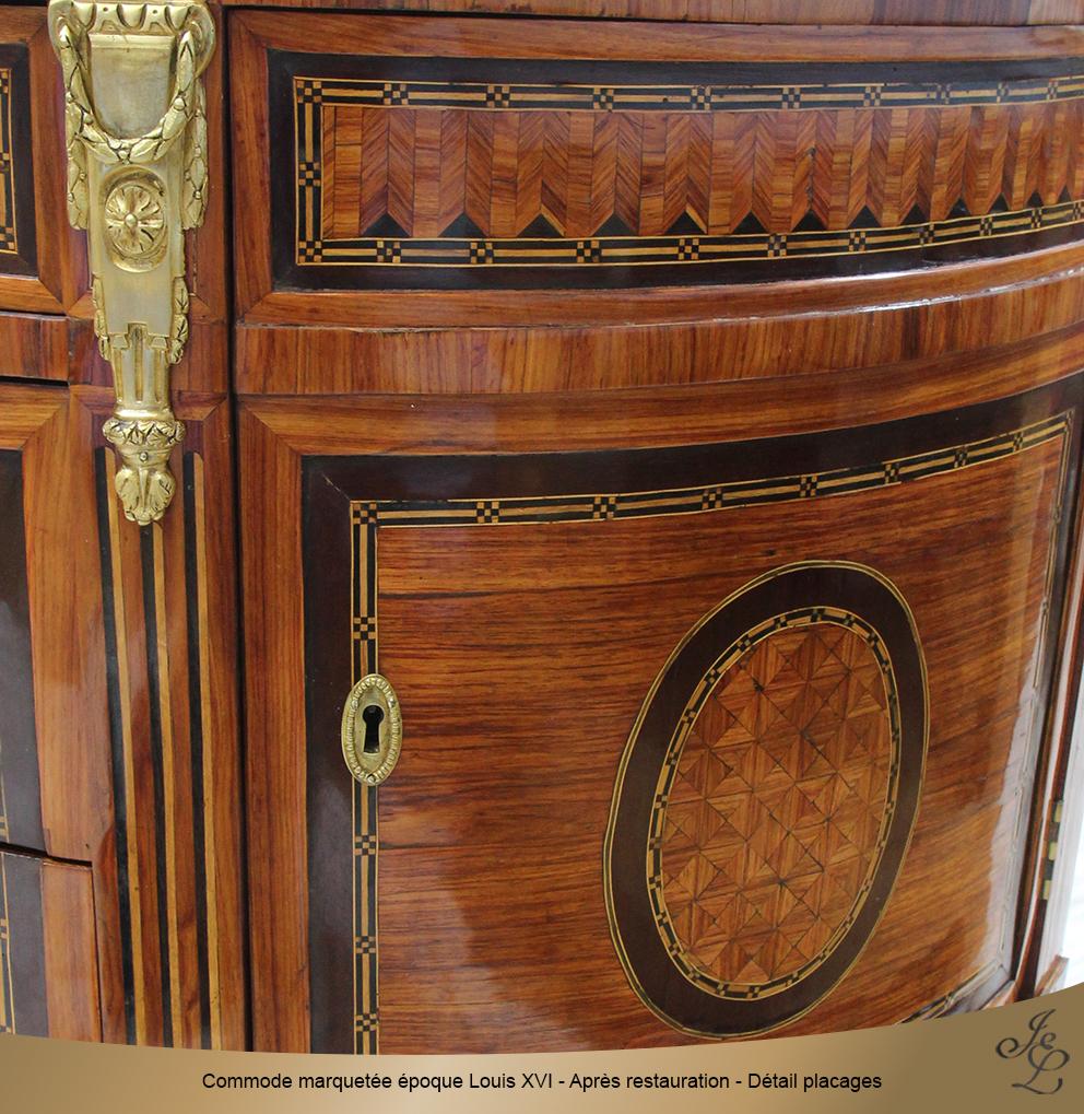 Commode marquetée époque Louis XVI - Après restauration - Détail placages 3