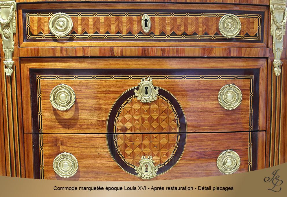Commode marquetée époque Louis XVI - Après restauration - Détail placages
