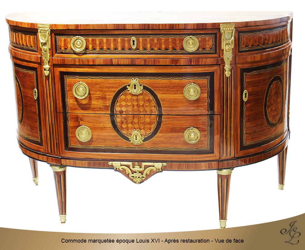 Commode marquetée époque Louis XVI - Après restauration - Vue de face