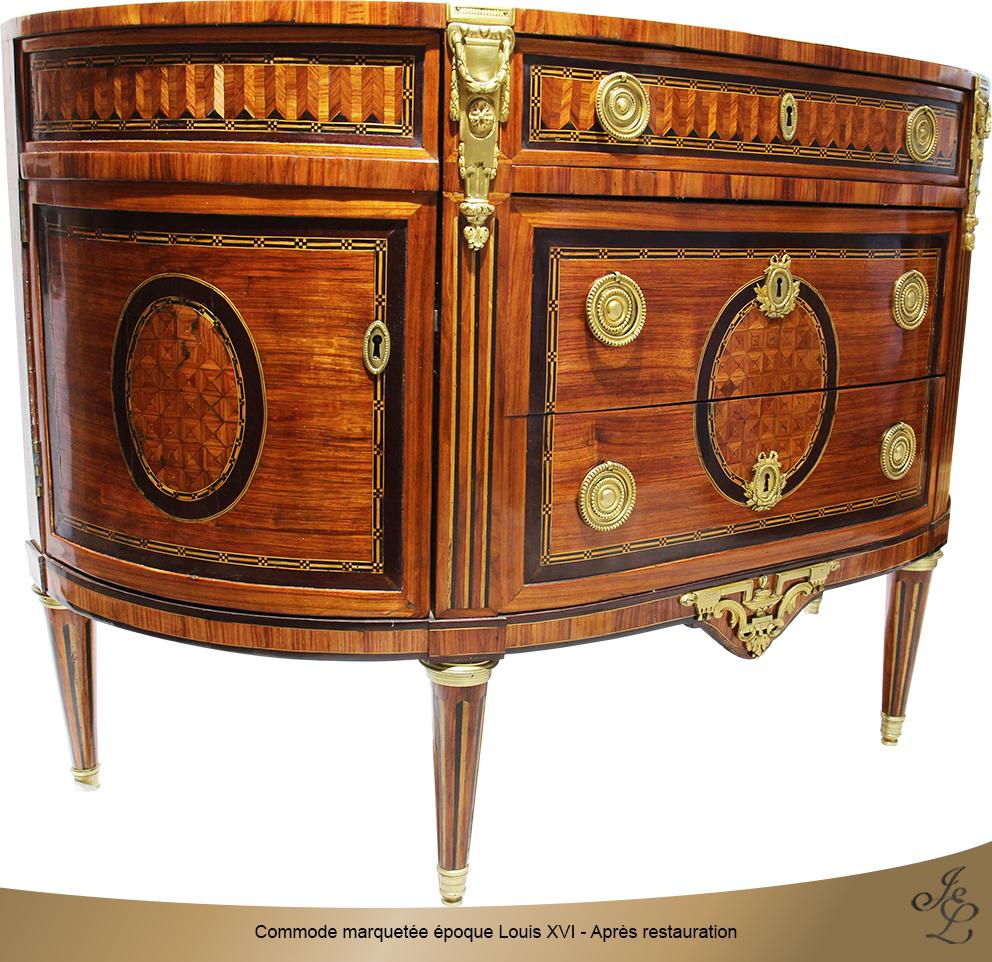 Commode marquetée époque Louis XVI - Après restauration