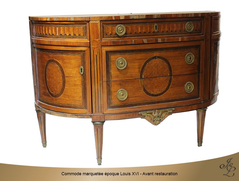 Commode marquetée époque Louis XVI - Avant restauration 2