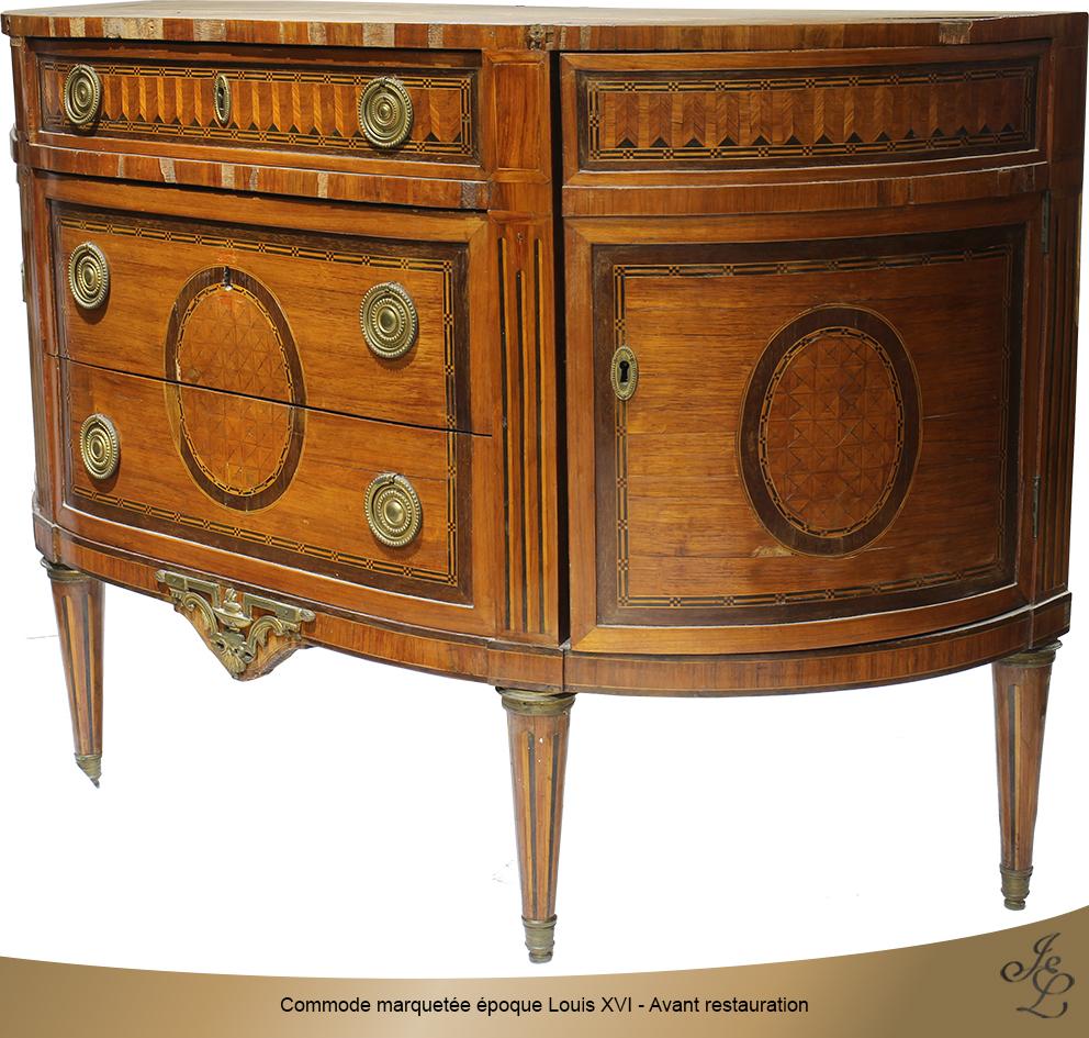 Commode marquetée époque Louis XVI - Avant restauration 5
