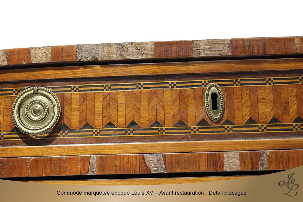 Commode marquetée époque Louis XVI - Avant restauration - Détail placages 3