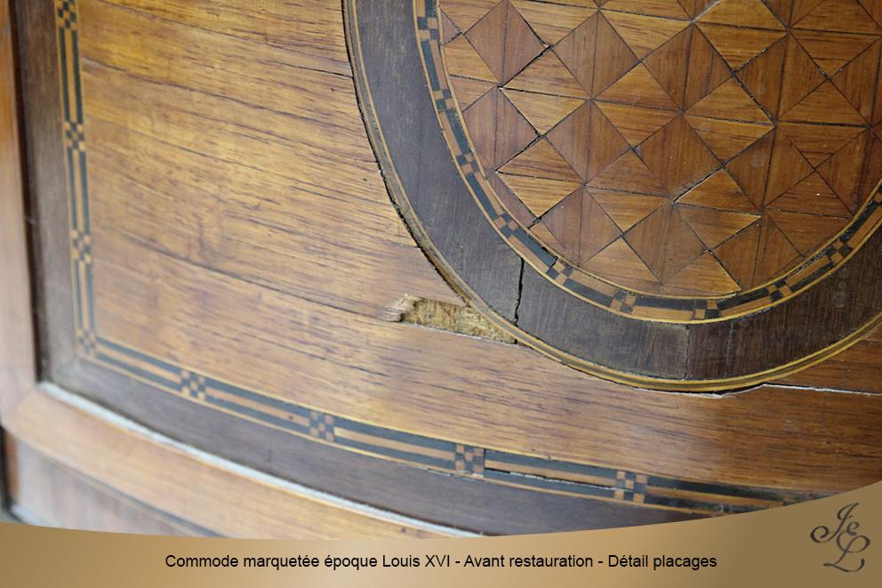 Commode marquetée époque Louis XVI - Avant restauration - Détail placages