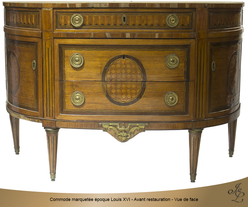 Commode marquetée époque Louis XVI - Avant restauration