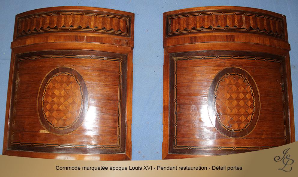 Commode marquetée époque Louis XVI - Pendant restauration - Détail portes